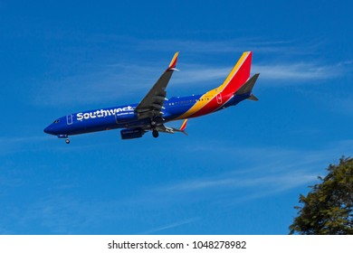 SAN DIEGO,CA - NOVEMBER 12,2016:Southwest Airlines lands at San Diego on November 12, 2016. Southwest is the largest domestic carrier in the USA.