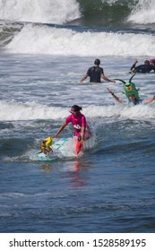 San Diego,California, United States, September 8th 2019. People and pets having fun at the annual dog surfing competition