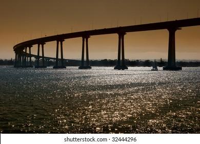 The San Diego-Coronado Bridge, locally referred to as the Coronado Bridge crossing over San Diego Bay linking San Diego with Coronado, California.