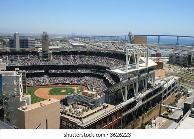 San Diego's Petco Park, Coronado Bridge in the background.