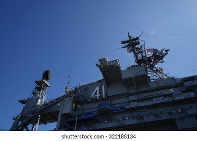 SAN DIEGO-SEP 1st, 2014:The historic aircraft carrier, USS Midway now a museum docked in Downtown San Diego.