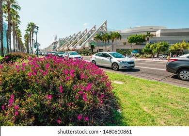 San Diego/USA - August 11, 2019.  San Diego Convention Center located in the Marina District of Downtown San Diego. View from 1st Avenue