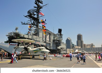 SAN DIEGO,USA - July 30 2013: The Aircraft carrier Midway as a museum of US navy at San Diego, California, USA.