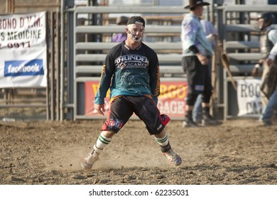 SAN DIMAS, CA - OCTOBER 2: Rodeo clown Robbie Hodges entertains the crowd at the San Dimas Rodeo on October 2, 2010 in San Dimas.