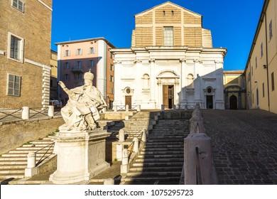San Domenico church and statue of pope Clemente XII in Plebiscito square, Ancona, Marche, Italy