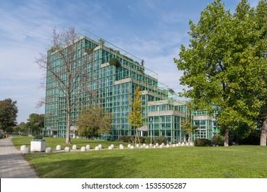 San Donato Milanese, Italy - October 5, 2019: Corporate headquarters the Italian multinational oil and gas company ENI