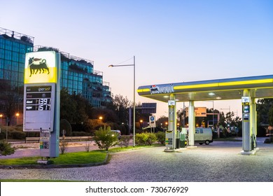 San Donato Milanese, Italy - October 8th, 2017: An ENI petrol station in San Donato Milanese, Milan, Italy. ENI is the Italian national oil company with its HQ in Rome, Italy