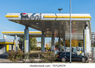 San Donato Milanese, Italy - October 15th, 2017: A retail ENI-AGIP petrol station in San Donato Milanese, where the headquarters of the company is situated