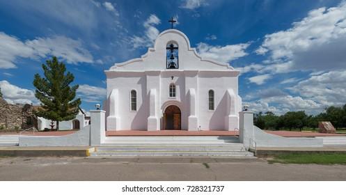 SAN ELIZARIO, TEXAS - AUGUST 11: Exterior fo the San Elizario Presidio Chapel on August 11, 2017 in San Elizario, Texas