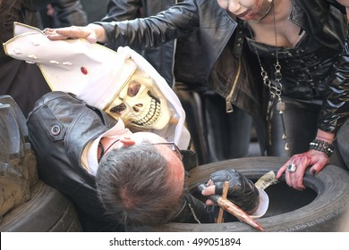 SAN FELICE SUL PANARO , MODENA , ITALY - OCTOBER 2016 :Sepulchrum a zombie and vampire event in city center around the historical streets and parks illustrative editorial