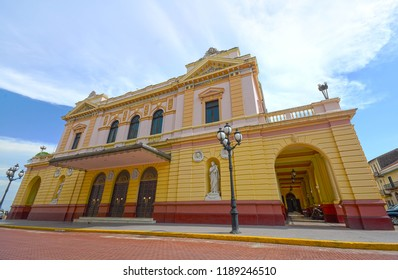 SAN FELIPE-PANAMA-SEP 15, 2018: The National Theatre of Panama is located in the old city of Panama, next to the church of San Francisco. Its construction was ordered by Act 52 of 1904.