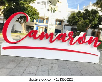 San Fernando, Spain - February 15, 2019: Giant poster with the signature of the famous Spanish singer, Camaron de la Isla. Singer very popular for his flamenco art