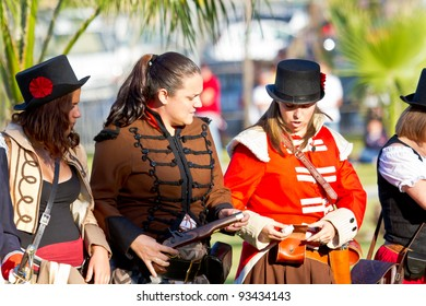 SAN FERNANDO, SPAIN - SEP 24: Actors taking part in the historical military reenacting of the oath of the Spanish constitution of 1812 on Sep 24, 2011 in San Fernando, Spain