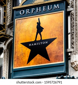 San Francisco, California–December 21, 2019:The sign for the hit musical Hamilton is displayed at the entrance of the Orpheum Theater.The show is about the life of founding father Alexander Hamilton.