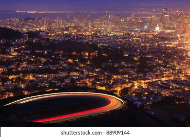 San Francisco after sunset. View from Twin Peaks.