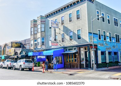 SAN FRANCISCO - APR 2, 2018: Italian restaurants, delis and bakeries at the North Beach community of Little Italy in San Francisco.