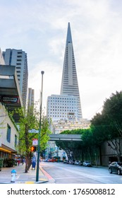 SAN FRANCISCO - APRIL 2, 2018: Iconic Transamerica Pyramid rises above the skyline in downtown San Francisco.