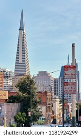 SAN FRANCISCO - APRIL 22, 2018:  Transamerica Pyramid in San Francisco, California, USA