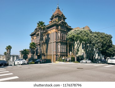 SAN FRANCISCO - APRIL 24, 2018: Victorian style homes in San Francisco, California, USA