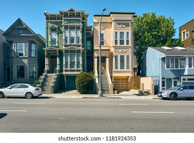 SAN FRANCISCO - APRIL 24, 2018: Victorian style homes in San Francisco, California, USA