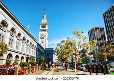 SAN FRANCISCO - APRIL 24: Famous ferry building on April 24, 2014 in San Francisco, California. This 245-foot tall clock tower is the iconic waterfront landmark built in 1898.