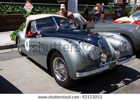 SAN FRANCISCO   APRIL 24: A Jaguar XK 120 Is On Display During The 2011