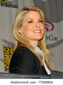 """SAN FRANCISCO - APRIL 3:  Ali Larter greets fans during the """"Resident Evil:  Afterlife"""" panel at the WonderCon convention within the Moscone Center on April 3, 2010 in San Francisco, California."""