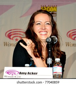 """SAN FRANCISCO - APRIL 3:  Amy Acker is amused by a fan during the """"Happy Town"""" panel at the Wonder-Con convention in the Moscone Center on April 3, 2010 in San Francisco, California"""