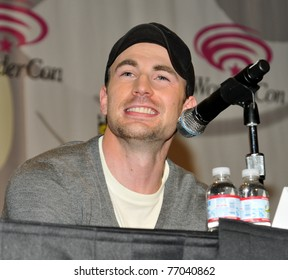 """SAN FRANCISCO - APRIL 3:  Chris Evans reacts to a question by a fan during  """"The Losers"""" panel at the Wonder Con convention within the Moscone Center on April 3, 2010 in San Francisco, California."""