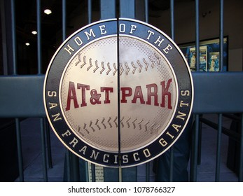 San Francisco - April 6, 2010: AT&T Park - Home of the Giants - Sign on Gate to ballpark taken on April 6, 2010 at Att Park in San Francisco California.