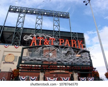 San Francisco - April 7, 2009: AT&T Park - Home of the Giants - Neon Sign during day with visual of baseball splashing into the water taken on April 7, 2009 at Att Park in San Francisco California.