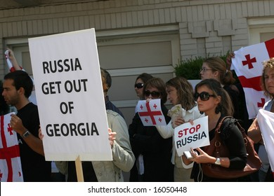 SAN FRANCISCO - AUGUST 11: People gathered outside the Russian consulate to protest Russian invasion to Georgia August 11, 2008 in San Francisco, CA. Russia invaded Georgia on August 8, 2008.