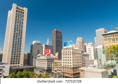 SAN FRANCISCO - AUGUST 5, 2017: Aerial view of Union Square skyline on a sunny day. The city attracts 20 million people annually.