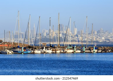 SAN FRANCISCO - AUGUST 9, 2014: A view of the Presidio Yacht Club marina at Point Cavallo with San Francisco as a backdrop.