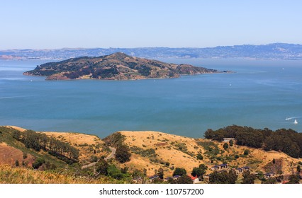 San Francisco Bay - Angel Island seen from Marin Headlands