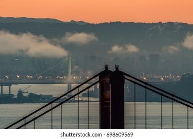 San Francisco Bay Area Bridge Spans at Sunrise