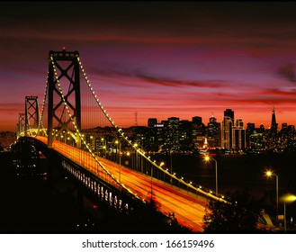 San Francisco Bay Bridge and Skyline at Sunset