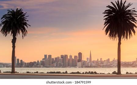 San Francisco and Bay Bridge taken from Treasure Island.