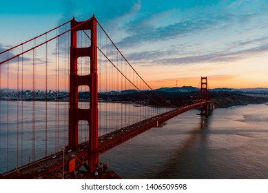 San Francisco Bay in California during the sunrise