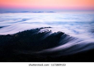 San Francisco Bay - Low Fog Rolling In Evening / Dawn