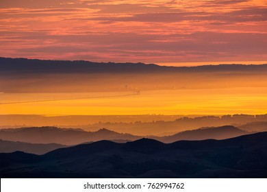 San Francisco bay and San Mateo bridge at sunset as seen from the Mt Diablo summit, Mt Diablo State Park, Contra Costa county, San Francisco bay area, California