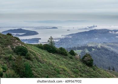 San Francisco Bay from Mount Tamalpais East Peak. Views include San Francisco skyline, San Francisco-Oakland Bay Bridge, Alcatraz Island, Angel Island, Tiburon, Sausalito, and East Bay mountains.
