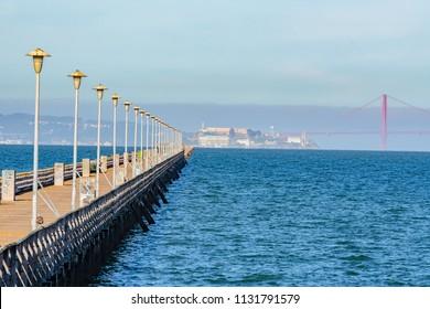 San Francisco Bay seen from the pier in Berkeley Ca.