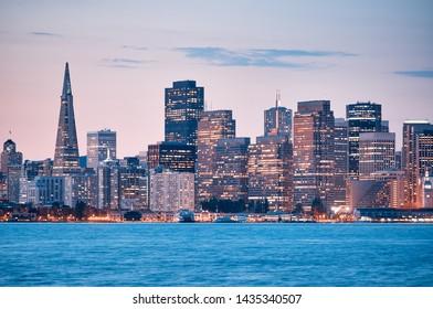 San Francisco beautiful night skyine, California.