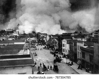 San Francisco burning after April 18, 1906 earthquake, with view of smoke over the Mission District. Within three days, fires, caused by ruptured gas mains, destroyed approximately 25,000 buildings ov