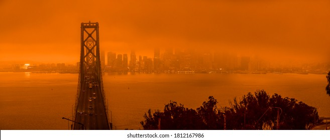San Francisco, Ca. 09/09/2020 during the natural disaster of the wild fires turns the city a bright orange in the daytime