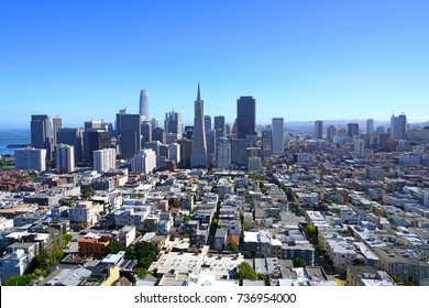 SAN FRANCISCO, CA -1 SEP 2017- View of the central San Francisco skyline and the Transamerica Pyramid building taken from the Coit Tower.