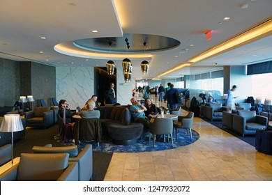 SAN FRANCISCO, CA -29 NOV 2018- View of the United Airlines Polaris Lounge at the San Francisco International Airport (SFO).