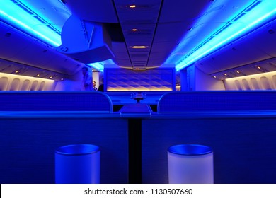 SAN FRANCISCO, CA -4 SEP 2018- Inside the new premium Polaris Business Class cabin on a plane from United Airlines (UA).