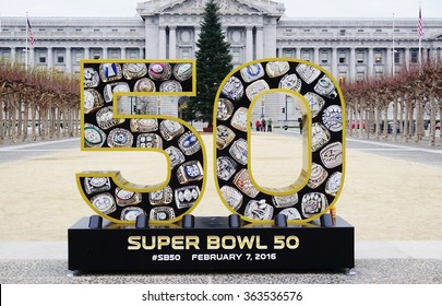 SAN FRANCISCO, CA -5 JANUARY 2016- Sign for the NFL Super Bowl 50, to be held in the Levi Stadium in Santa Clara on February 7 between the Denver Broncos and Carolina Panthers, in front of City Hall.